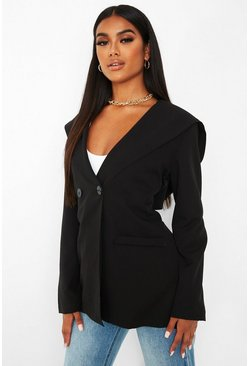Black Woven Pocket Detail Hooded Blazer