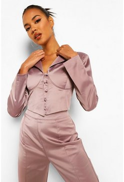 Taupe beige Tailored Satin Corset Detail Crop Blazer