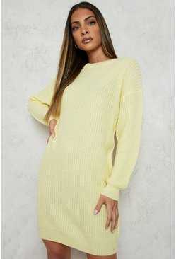 Lemon yellow Crew Neck Sweater Dress