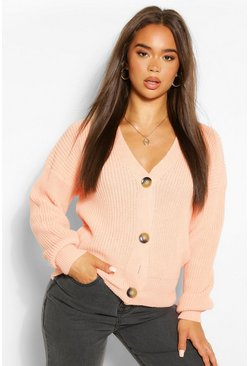 Apricot nude Button Through Crop Cardigan