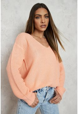 Apricot nude V Neck Sweater