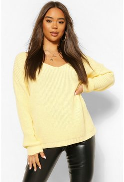 Lemon yellow V Neck Jumper