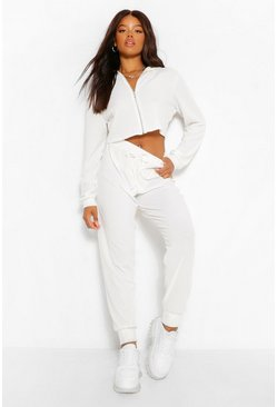 Cream white Waffle Knit Hoody And Joggers Lounge Set
