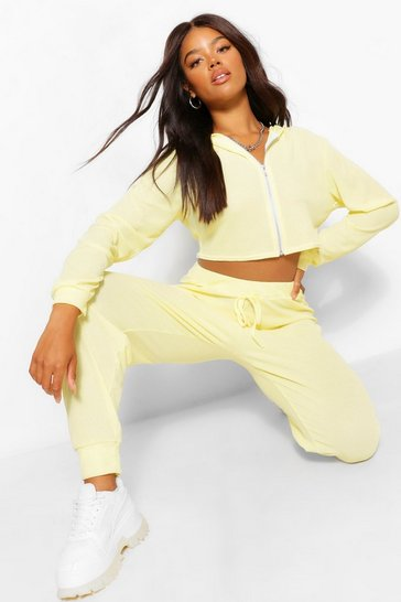 Lemon yellow Yellow Waffle Knit Hoody And Joggers Lounge Set