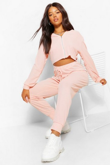 Peach orange Orange Waffle Knit Hoody And Joggers Lounge Set
