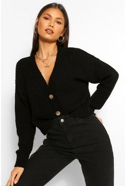 Black Chunky Knit Crop Cardigan