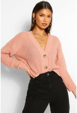 Blush pink Chunky Knit Crop Cardigan
