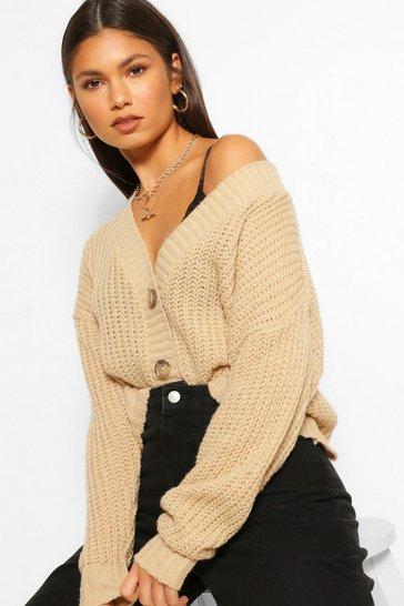 Stone beige Chunky Knit Cropped Cardigan
