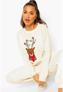 Sequin Reindeer Christmas Jumper, Cream blanc