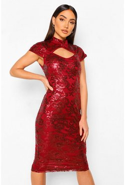 Red Sequin Damask Keyhole High Neck Midi Dress