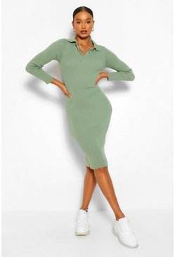 Sage green Polo Collar Rib Knit Midi Dress