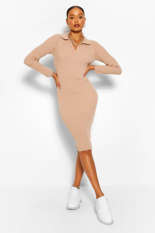 Women's Polo Collar Rib Knit Midi Dress   Boohoo UK