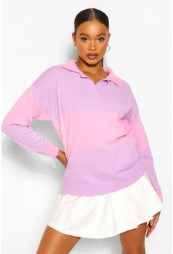 Lilac purple Colour Block Polo Collar Rugby Jumper