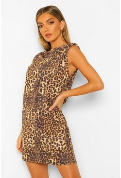 Leopard Print Shoulder Pad Mini Dress