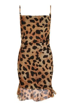 Brown Leopard Mesh Rouched Mini Dress