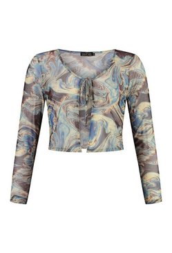 Blue Marble Print Tie Front Long Sleeve Mesh Top