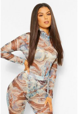 Blue Marble Print Turtle Neck Mesh Bodysuit
