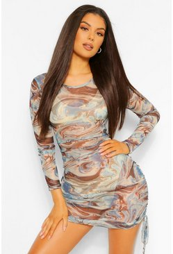 Blue Marble Print Ruched Side Mesh Bodycon Dress