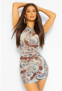 Blue Marble Print Ruched Front Mesh Bodycon Dress