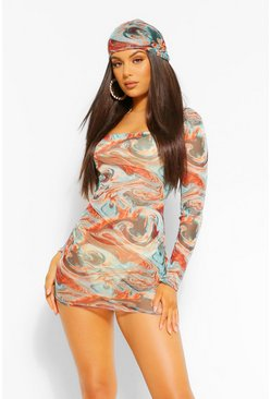 Turquoise blue Marble Print Long Sleeve Mesh Bodycon Dress