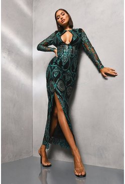 Teal Sequin Damask Plunge Maxi Dress