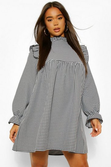 Black Dogtooth Frill Detail Smock Dress