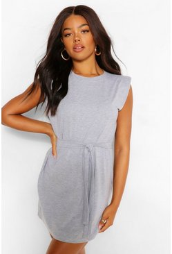 Shoulder Pad Tie Belt Jersey T Shirt Dress, Grey marl grau