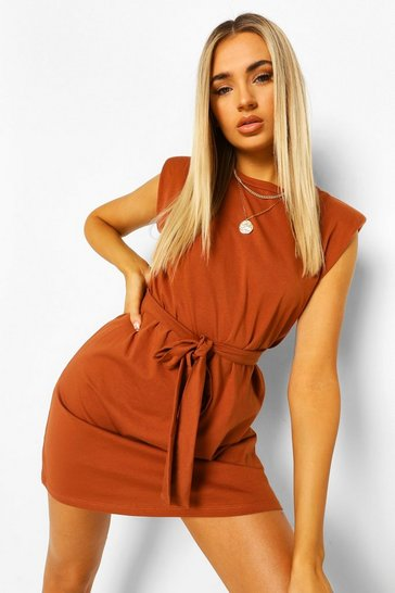 Tan brown Shoulder Pad Tie Belt Jersey T Shirt Dress