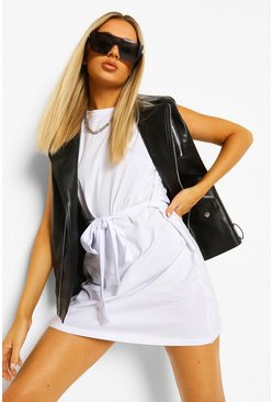 White Shoulder Pad Tie Belt Jersey T Shirt Dress