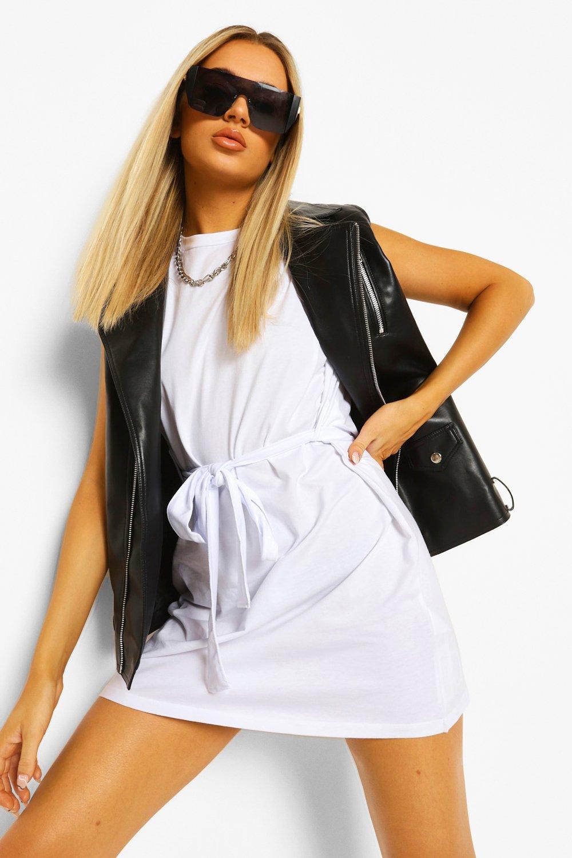 Don't Miss Out Shoulder Pad Tie Belt Jersey T Shirt Dress