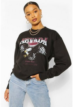 Black Nevada Graphic Oversized Sweater