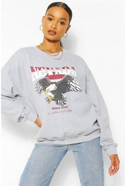 Grey marl grey Nevada Graphic Oversized Sweat
