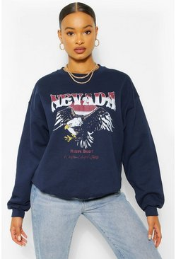 Navy Nevada Graphic Oversized Sweat