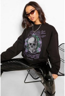 Black Rock And Roses Oversized Sweater