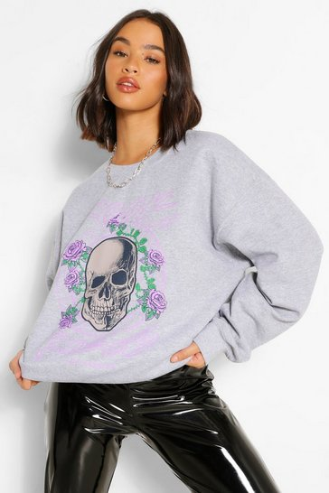 Grey marl grey Grey Rock And Roses Oversized Sweater