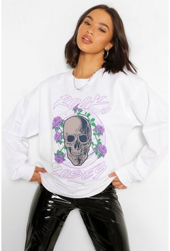 White Rock And Roses Oversized Sweater