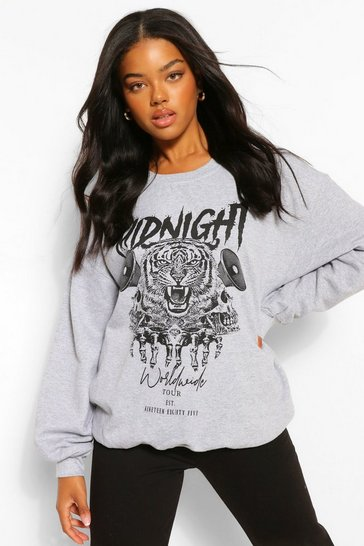 Grey marl grey Grey Midnight Graphic Oversized Sweater