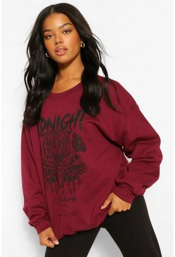 Maroon red Midnight Graphic Oversized Sweat