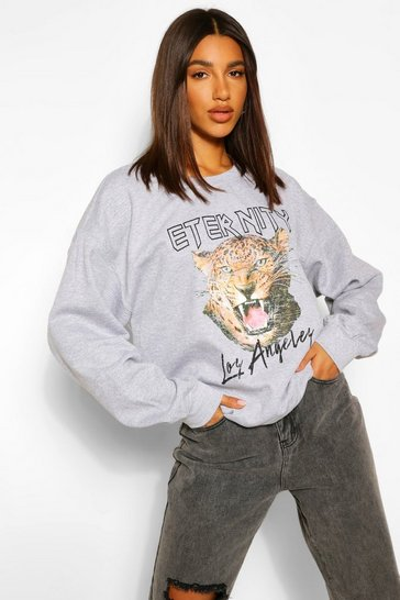 Grey marl grey Grey Eternity Graphic Oversized Sweater