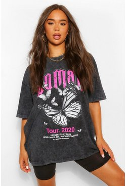 Bright pink Woman Butterfly Oversized T-Shirt