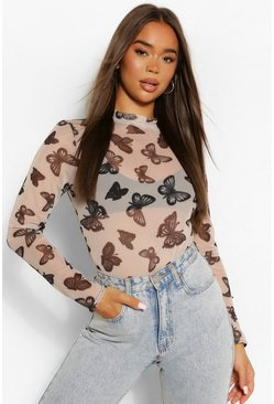 Stone beige Mesh Butterfly Print High Neck Bodysuit