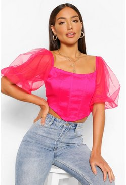 Red Organza Off The Shoulder Corset Top