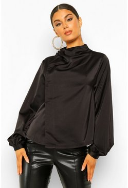 Black Woven Button Detail Wrap Blouse