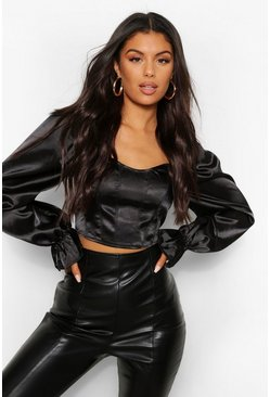 Black Satin Long Sleeve Corset
