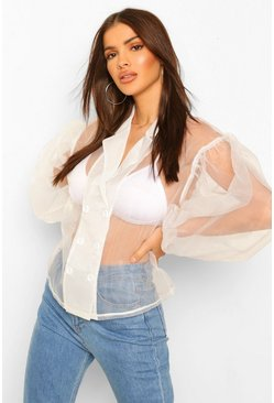 Ivory white Organza Oversized Sleeve Shirt