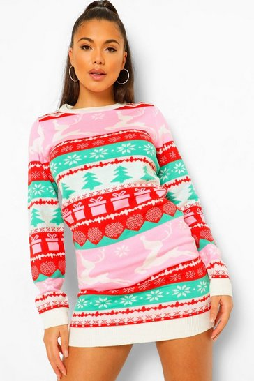 Pink Fairisle Christmas Jumper Dress