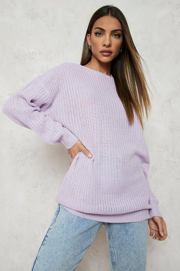 Lilac purple Purple Slash Neck Jumper