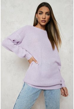 Lilac purple Slash Neck Jumper