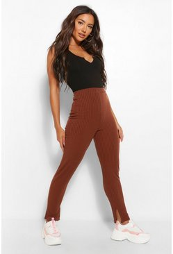 Chocolate brown Split Hem Knitted Rib Legging