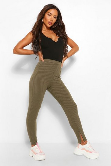 Khaki Split Hem Knitted Rib Legging